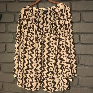 Lucky Brand Brown Cream long Sleeve Blouse Large